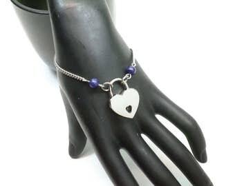 Locking Slave Bracelet, BDSM Locking Bracelet, Locking Bondage Bracelet, Gemstone heart bracelet, Master Slave Bracelet, BDSM jewelry