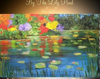 "SALE ORIGINAL 36""Abstract Acrylic gallery canvas-Contemporary Palette Knife Impasto painting ""By The Lily Pond""  by Nicolette Vaughan Horner"
