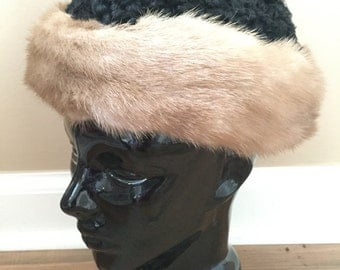 Lambs Wool Hat - Real Fur Collar - Mink Fur Trim - Black Lambs Wool Winter Hat