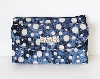 Women's Wallet Clutch with Bifold Card Slots and Coin Purse Zip Pocket in Blue Denim