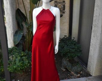 Vintage 1980's Scott McClintock Red Satin Evening Dress - Size 6
