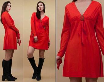60s Vtg Fredericks of Hollywood Deadstock Red Mod Mini Dress / Tassle - Filigree Buckle Sleeve & Bust GOGO Hippie Groupie Rocker / Xs Sm
