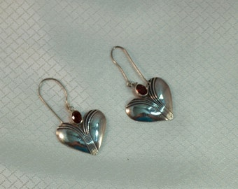 Art Deco Styled Sterling and Red Garnet Heart Drop Earrings