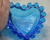 Candlewick 2nd Annual 1974 Glass Festival Blue Glass Heart dish Imperial Glass