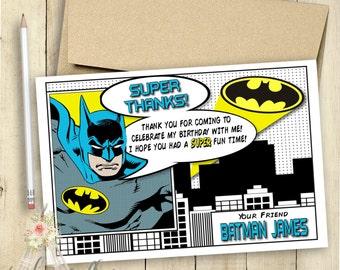 Batman Thank You Card Batman Invitation Batman Birthday Party Comic Book Customized Superhero Invitation PRINTABLE