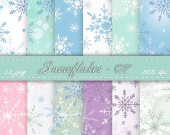 Snowflake scrapbook paper - Christmas digital paper, Watercolor snowflake, Snowflake digital paper, Digital Paper, Winter background