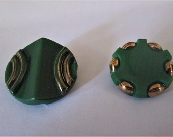 Two Vintage Art Deco Green Glass Buttons