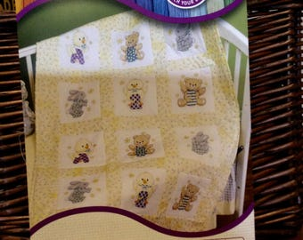 Stamped cross stitch baby quilt squares bunny bear chick mouse design