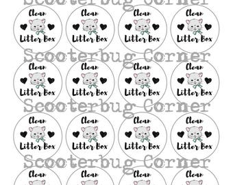 Clean Litter Box Planner Stickers for Erin Condren, Happy Planner, Traveler's Notebooks and More