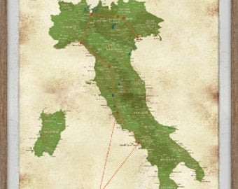 Map of Italy - 24X36 Inches - Italy Push Pin Map Home decor Vintage Style Travel decor- Gift for Newlyweds, Framed, Personalized, Paper Gift