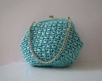 Vintage 60s Turquoise Aqua Swiss Straw Raffia Kiss Lock Purse Clutch