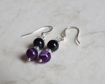 purple and white bead silver plated hook earrings