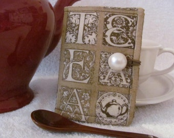 Quilted Tea Wallet Mocha Brown with TEA Letters with Cream/Brown Accent Fabric Quilted Tea Leaf Stitch Pearl White Button - Tea Lover Gift