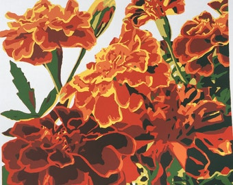 Fall Marigolds, original screenprint from a small edition