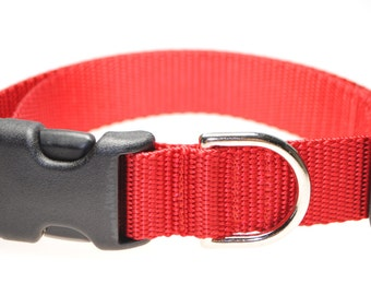 """Red Collar and Leash Combination - 1"""" Width"""