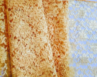 Gold Lace Table Overlay DARK Gold Lace - SELECT A SIZE - Other Colors Available