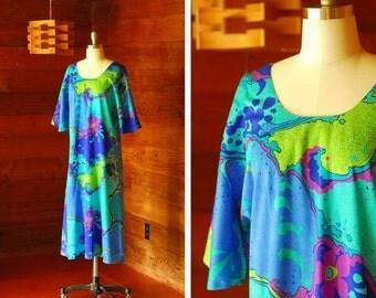 20% OFF FALL SALE / vintage 1970s maxi dress / 70s two potato blue psychedelic print dress / size medium