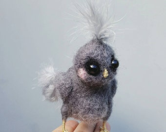 Felted bird, Little owl, needle felted, baby barred owl, cute bird, woodland animal, gray feathers owlet sculpture, fluffy bird baby