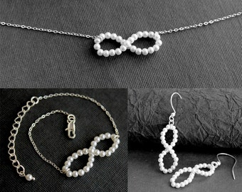 Bridal Pearl Infinity Set - Necklace, Bracelet, and Earrings -Sterling Silver Bridal Jewelry- Free U.S Shipping-