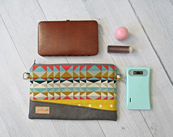 """Clutch Bag. """"Juliet"""" Bag in Mustard and Aztec Print. Clutch Purse with Wrist Strap and Cross Body Strap. Gift for Mom. Gift Under 50."""