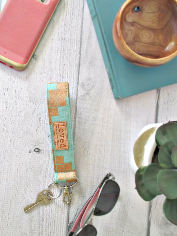 "Key Fob Wristlet with ""Loved"" Message 