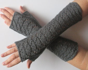 "Long Fingerless Gloves Dark Gray 12"" Arm Warmers Mittens Soft Acrylic"