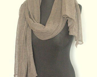Linen Scarf Natural Grey Organic Linen Women's Scarf Pure Linen Spring Clothing
