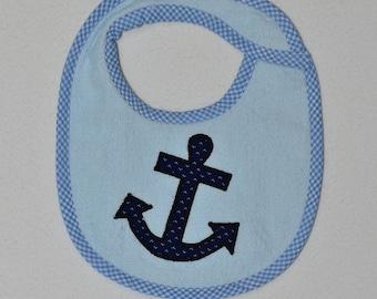 Anchor Infant Bib- Blue Anchor Applique Terrycloth Infant Bib