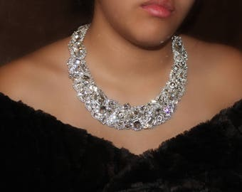 Statement Necklace, Bridal Necklace, Crystal Necklce, Choker, Classic Old Hollywood Rhinestone Crystal Necklace Fits Perfect On Your Neck