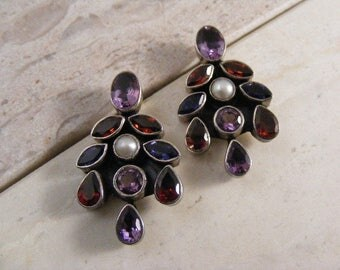 Vintage Sterling Silver Amethyst, Garnet, Iolite and Pearl  Earrings.....  Lot 4882