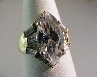 Vintage Cubic Zirconia Marquise Engagement Ring in Sterling Silver Vermeil.....  Lot 4931