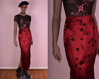 90s Black and Red Floral Print Skirt/ US 3/ 1990s