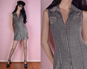 90s Silver Metallic Zip Up Dress/ Small/ 1990s/ Rave/ Club