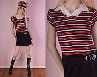90s Striped Dress/ XS/ 1990s/ Short Sleeve