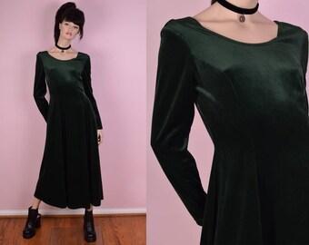 90s Green Velvet Maxi Dress/ Small/ 1990s/ Long Sleeve