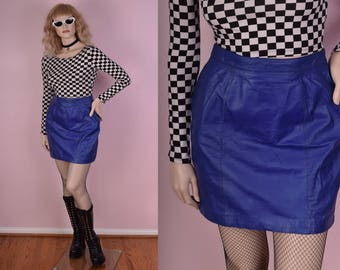 80s Blue Leather Skirt/ US 12/ 1980s