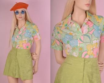 70s Colorful Floral Print Shirt/ Medium/ 1970s/ Short Sleeve