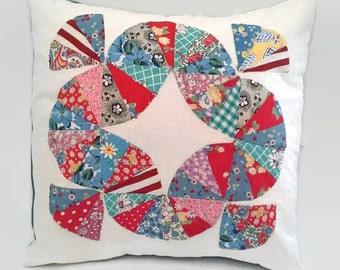 """Quilt Block Pillow Cover Upcycled and Sustainable 16 X 16 Colorful 16"""" Square Throw Pillow, Scatter Pillow"""