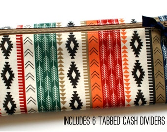 Cash envelope wallet with 6 sturdy cash dividers for Dave Ramsey budget | mutlticolor tribal print laminated cotton