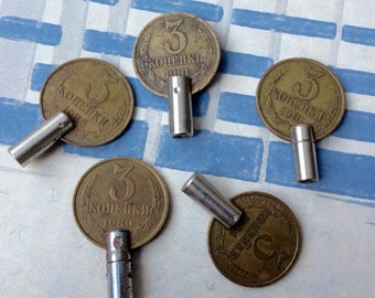 Vintage Soviet Russian alarm clock winding keys.Set of 5.