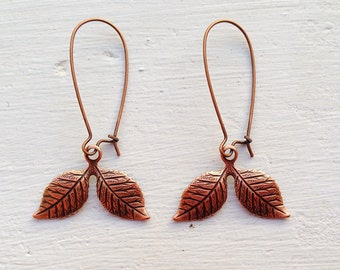 Copper Leaf Earrings/Leaf Earrings/Woodland Earrings/Outdoor Wedding Earrings/Bohemian Earrings/Rustic Wedding Earrings/Autumn Earrings/Boho