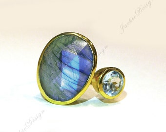 Size 8 Flash Blue Labradorite Blue Topaz Gold Plated Sterling Silver Stackable Cocktail Ring JD12