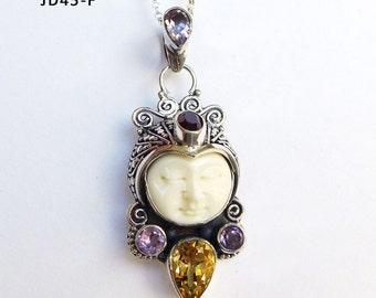 Citrine Amethyst Garnet Gemstone Bali Goddess Face Sterling Silver Pendant JD45-F