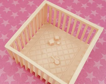 Marx  Vintage Play Pen Baby Nursery pink  Doll House Toy Soft Plastic Baby