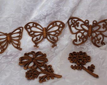 Homco Butterfly - Faux Wood Butterflies - Wood Flowers - Wall Art - Vintage Home Interiors -