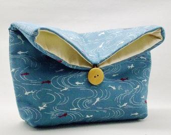 Foldover clutch, Fold over bag, clutch purse, evening clutch, wedding purse, bridesmaid gifts - Small fish (Ref. FC17 )