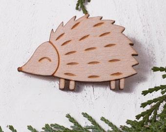 Cute Hedgehog Brooch - Gift For Hedgehog Lover - Gifts For Her - Animal Brooch - Rustic Brooch - Wooden