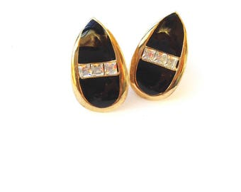Art Deco Style Black & Rhinestone Clip On Earrings Retro Fashion Jewelry
