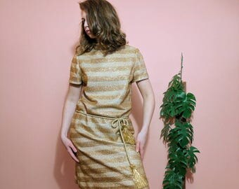 1960s Dalton Gold Lurex Striped Dress