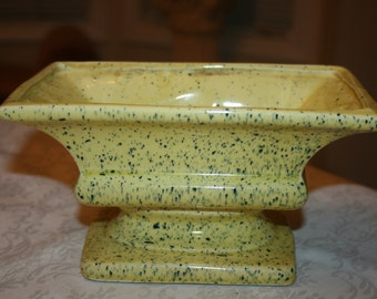 Vintage RRP Co Roseville Ohio USA Pottery Indoor Planter Yellow Green Specks Speckle Rectangle Pedestal